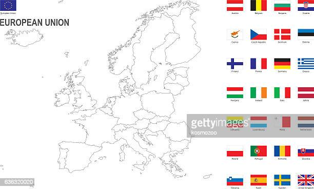 white map of european union with flag against white background - slowakei stock-grafiken, -clipart, -cartoons und -symbole