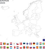 White map of European Union with flag against white background