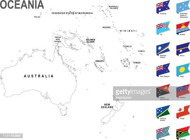 white map of oceania with flag against white background - nauru stock illustrations, clip art, cartoons, & icons