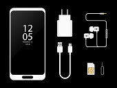 White Mobile Phone with accessories,charger,headphones, sim card key
