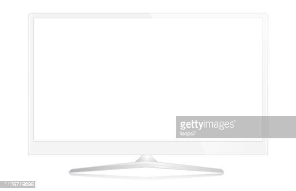 白い近代的なコンピューター モニターのベクトル図 - 液晶画面点のイラスト素材/クリップアート素材/マンガ素材/アイコン素材