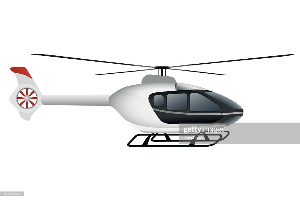 White modern helicopter.