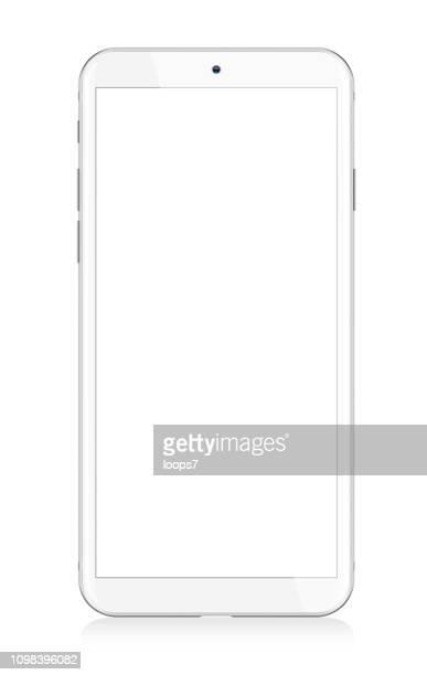 ilustrações, clipart, desenhos animados e ícones de smartphone moderno branco - branco