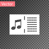 White Music book with note icon isolated on transparent background. Music sheet with note stave. Notebook for musical notes. Vector Illustration