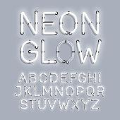 White Neon Glow alphabet