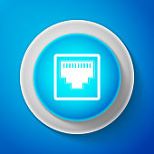 White Network port - cable socket icon isolated on blue background. LAN port icon. Ethernet simple icon. Local area connector icon. Circle blue button with white line. Vector Illustration