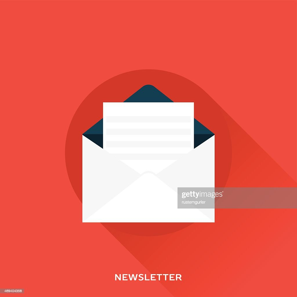 A white newsletter on a red background