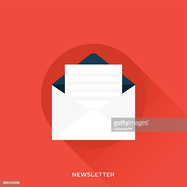 a white newsletter on a red background - newsletter stock illustrations