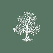 white oak tree silhouette on green background