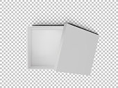 White open empty squares cardboard box isolated on transparent background top view. Mockup template for design products, package, branding, advertising. Vector illustration.