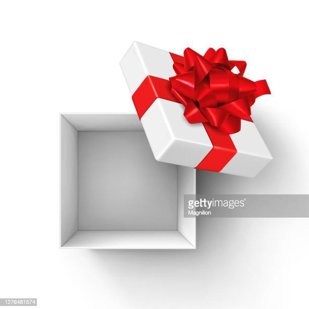 white open gift box with red bow and ribbons - opening stock illustrations