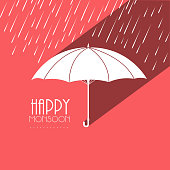 White open umbrella on creative pink background.