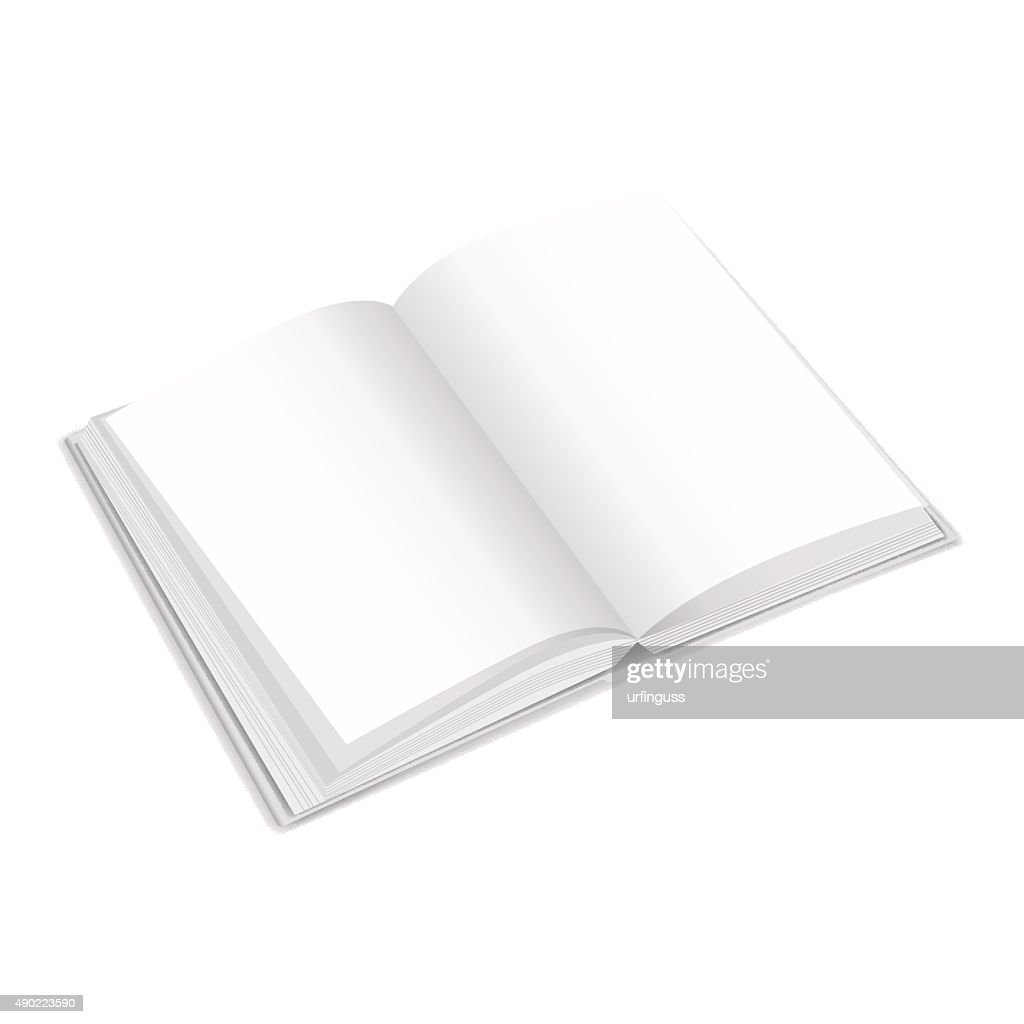 White opened book with blank pages. Vector