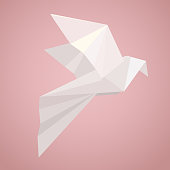 White origami pigeon. Paper Zoo