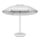 White outdoor beach, garden umbrella, parasol