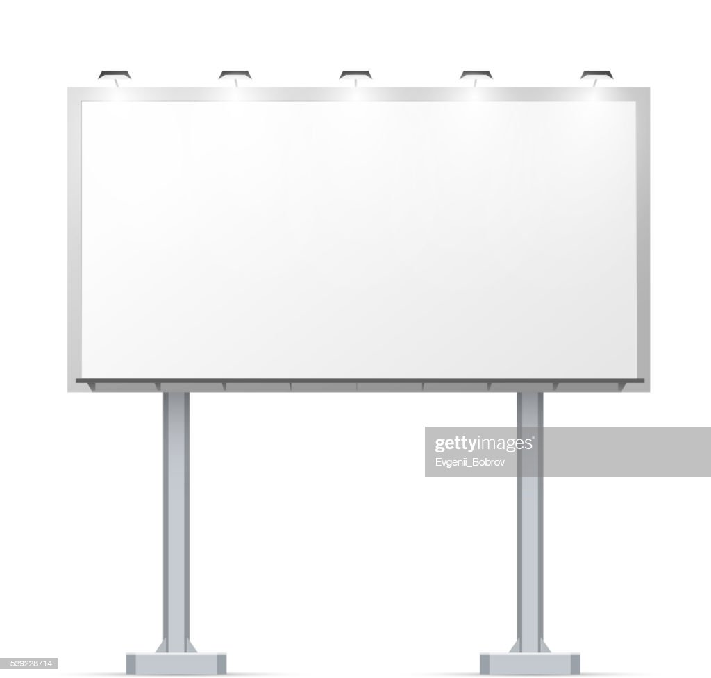 White outdoor billboard on two pillars with place for advertising
