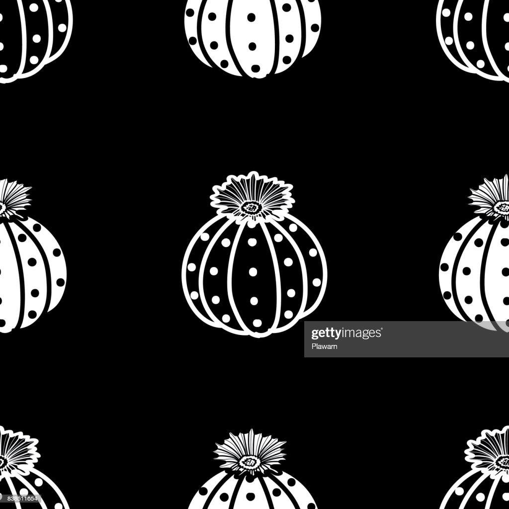 White outline & black plane succulents and white plane succulents on black background. Seamless pattern vector illustration.