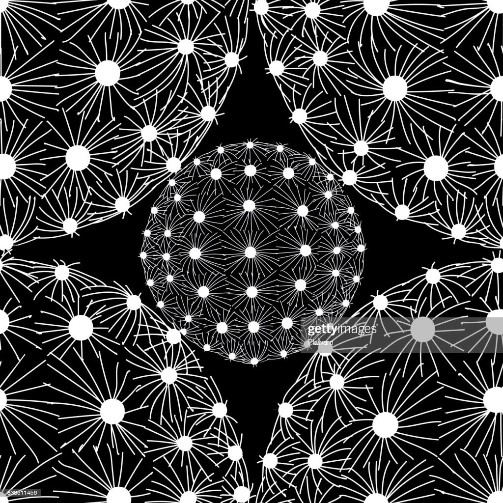 White outline succulents on black background. White dot & line in round shape on black background. Seamless pattern vector illustration.