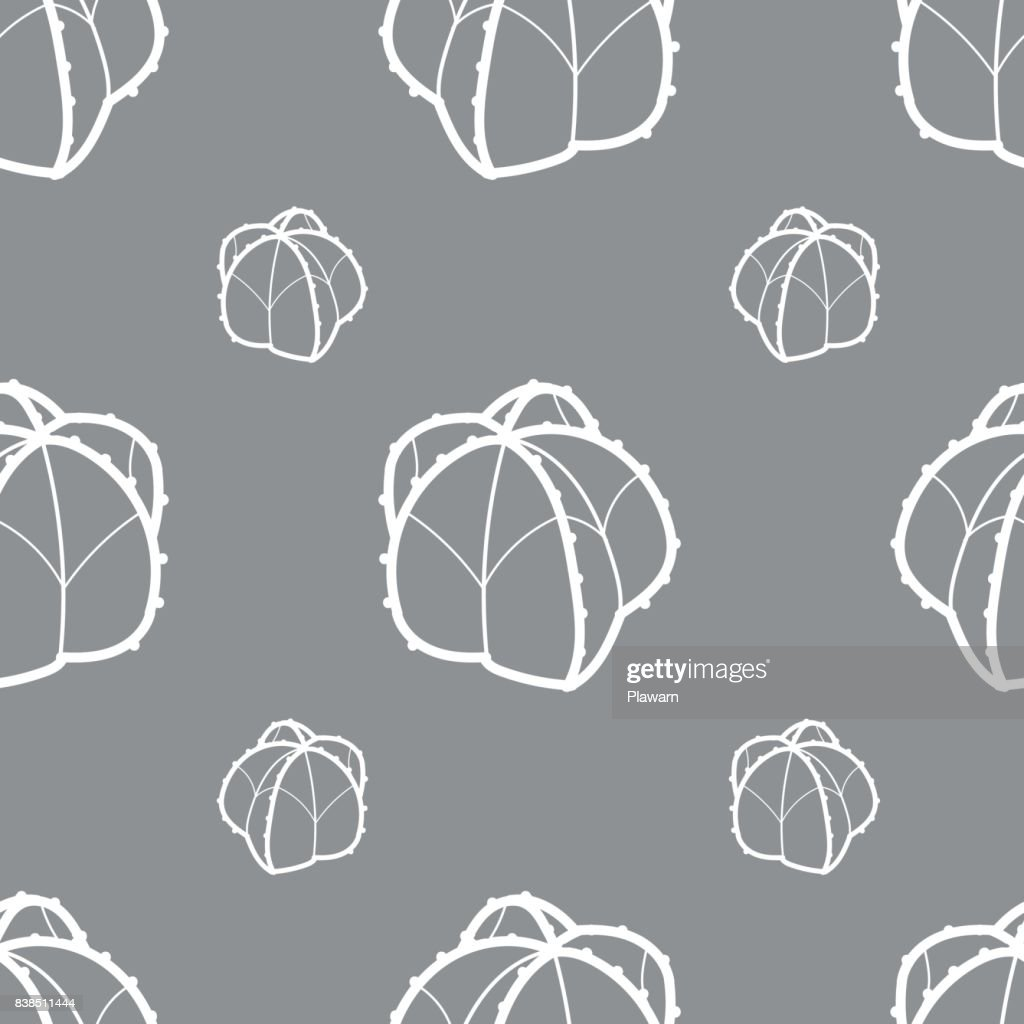 White outline succulents on gray background. Seamless pattern vector illustration.