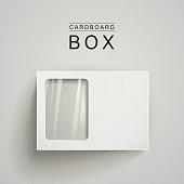 white package box with a transparent plastic window