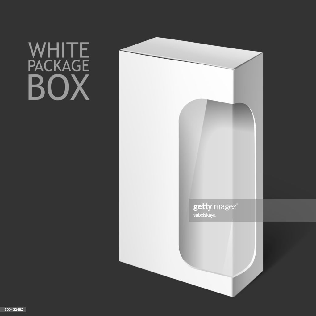 White Package Box with Window. Mockup Template