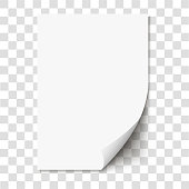 White page curl on empty sheet paper with shadow. Realistic blank folded page on transparent background. Vector illustration.