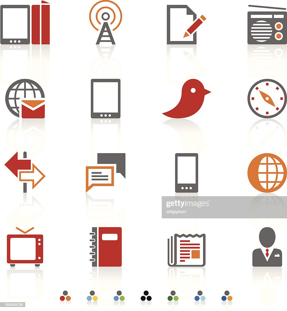 A white page with red, orange, and grey communication icons