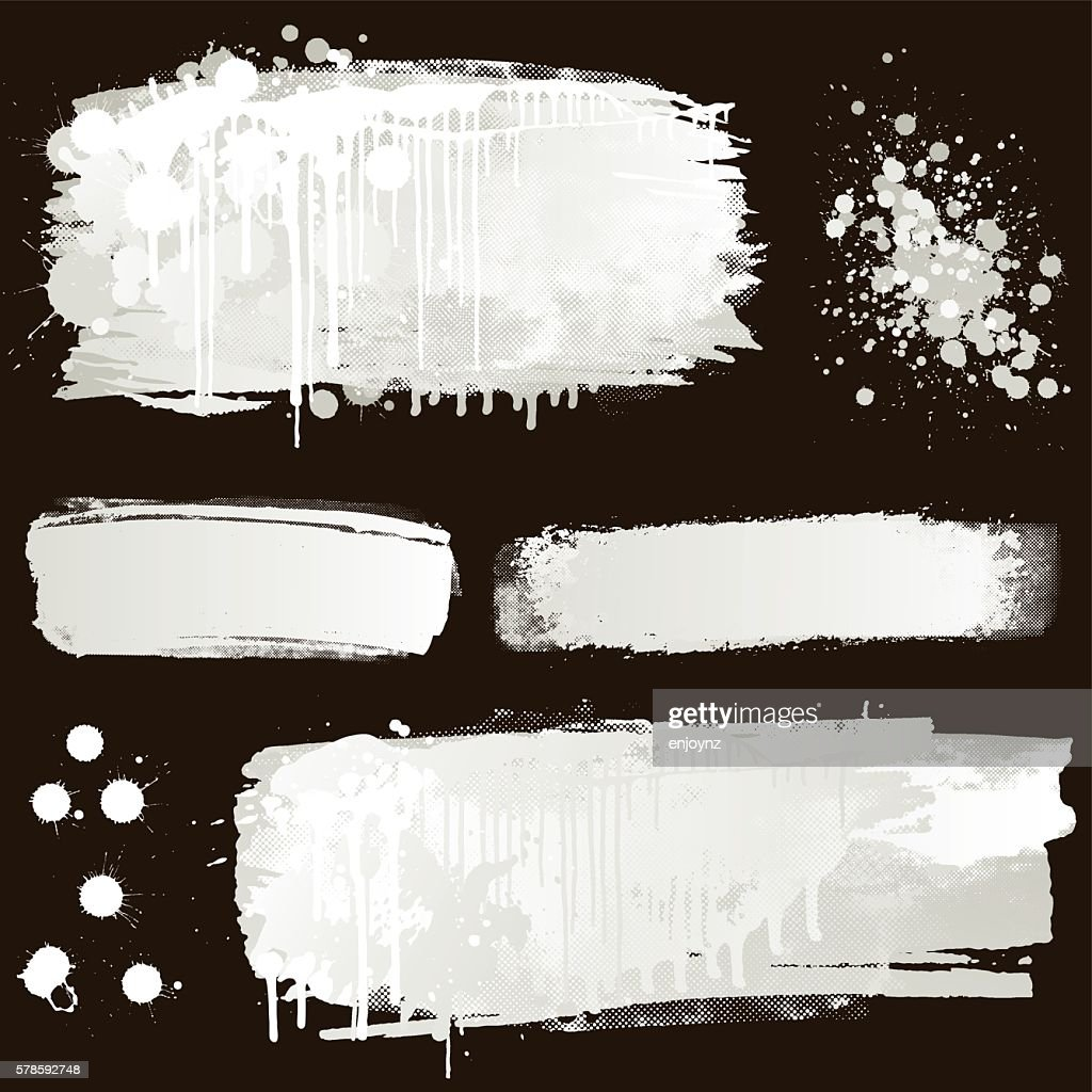White Paint Splatter On Black Background stock illustration