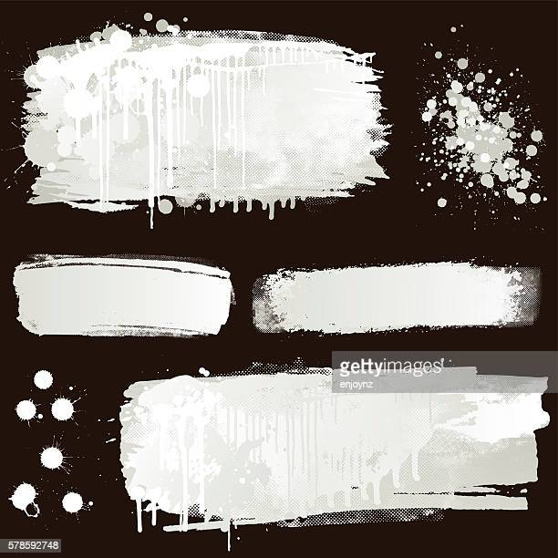 white paint splatter on black background - white stock illustrations