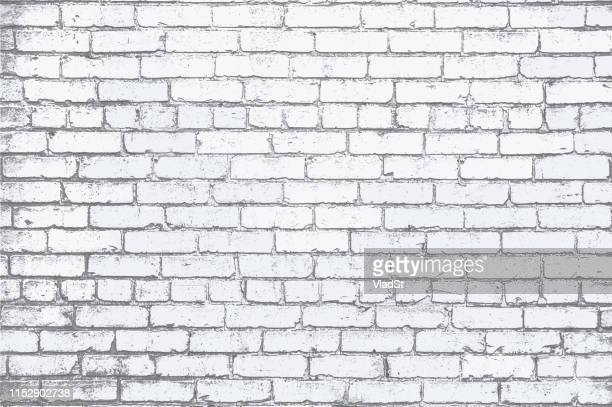 illustrazioni stock, clip art, cartoni animati e icone di tendenza di white painted brick wall grunge textured background illustration - mattone