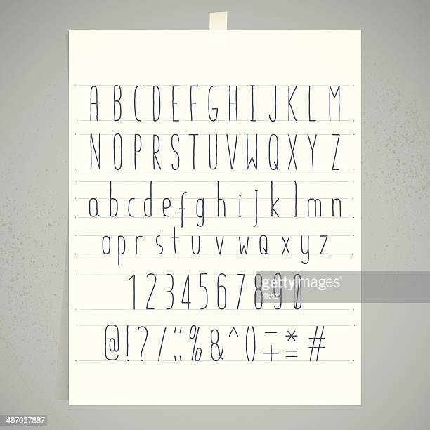 White Paper Adhesive Tape Gray Wall Condensed Handwriting Alphabet