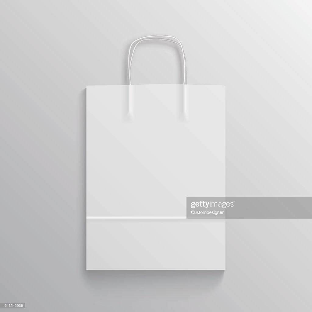 White paper bag mockup