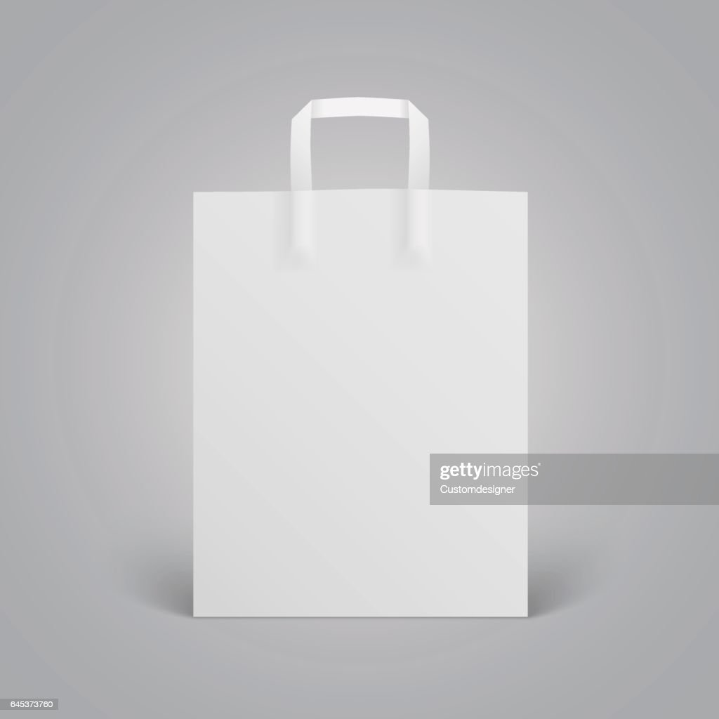 White paper bag mockup with handles on grey background