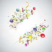 White paper banner, colored balloons and colored confetti. vector file