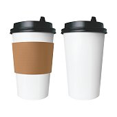 White paper Cup with a brown cover with label and without label. Isolated vector cup for hot drinks like coffee and tea.