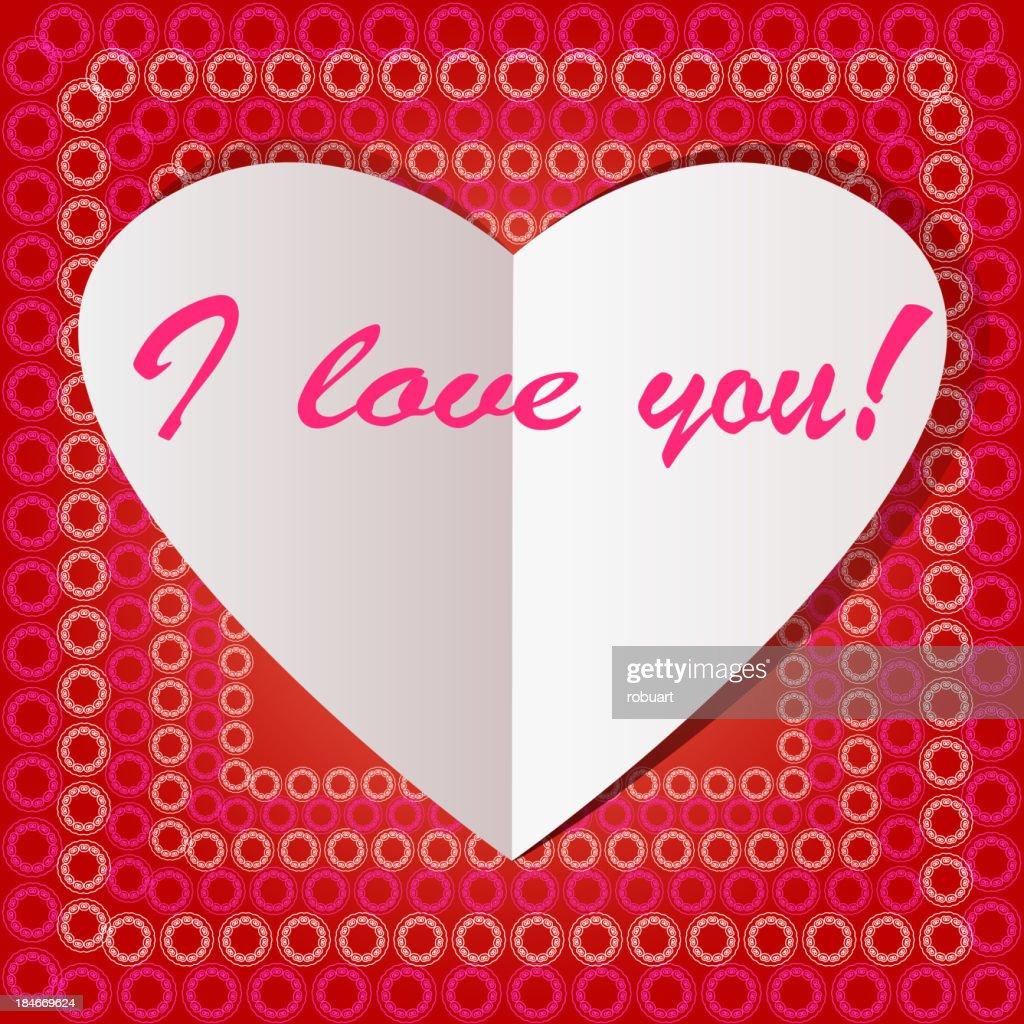 White paper heart Valentins day