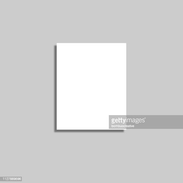 white paper isolated with soft shadow on white background - paper based equipment stock illustrations