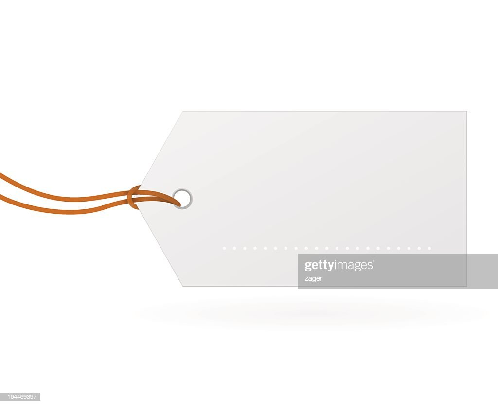 White paper label with tie against a white background