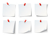White paper notes on red thumbtack. Top view note sticker with pins vector set
