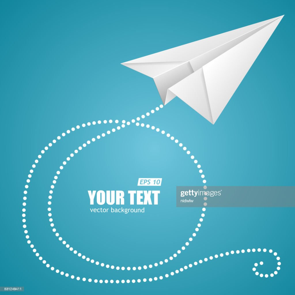 White paper plane on blue sky and text box