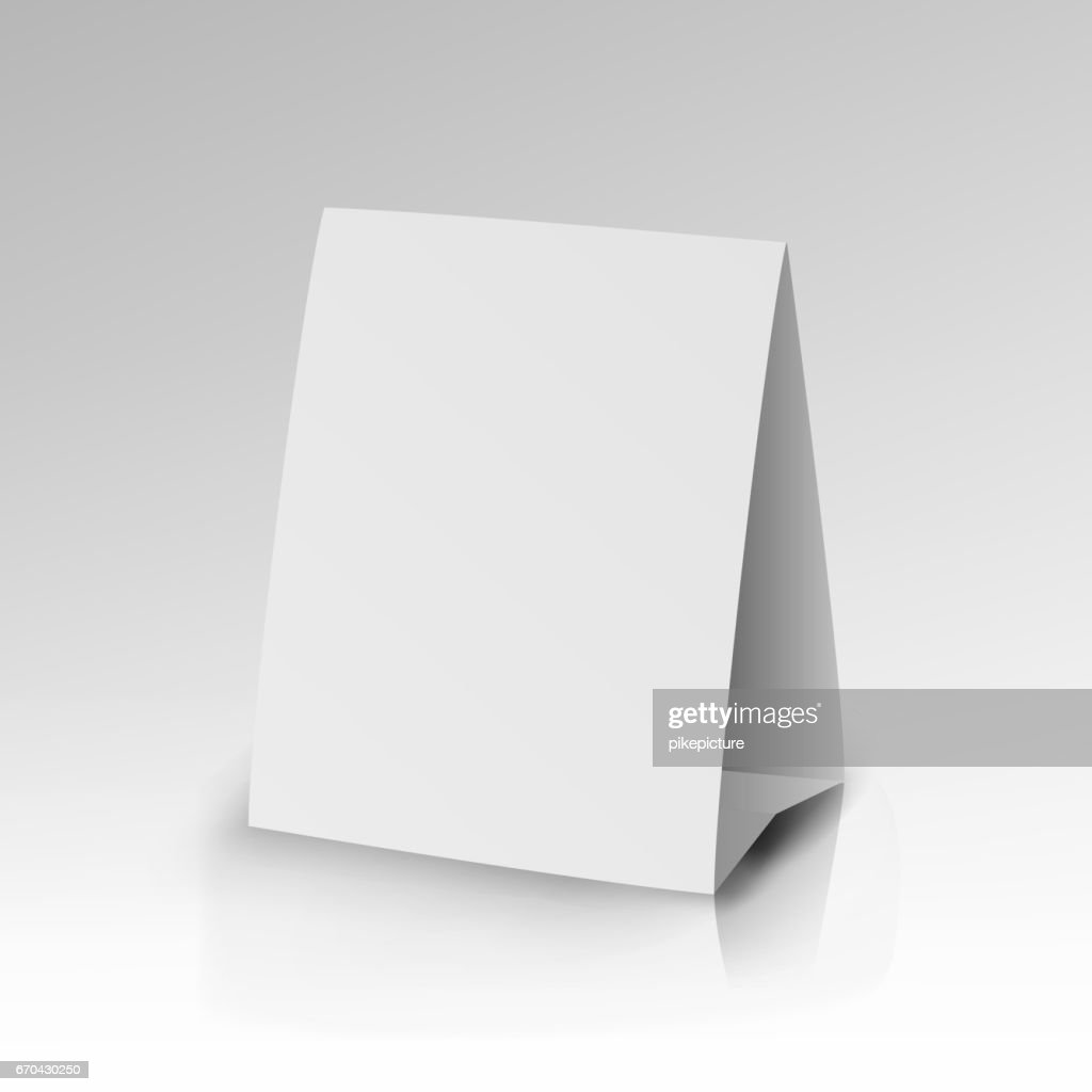 White Paper Stand Table Tag Flyer Vector