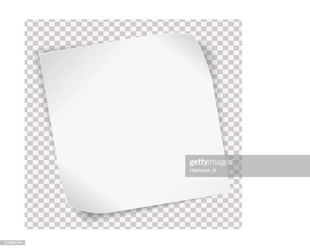 White paper sticker over transparent background