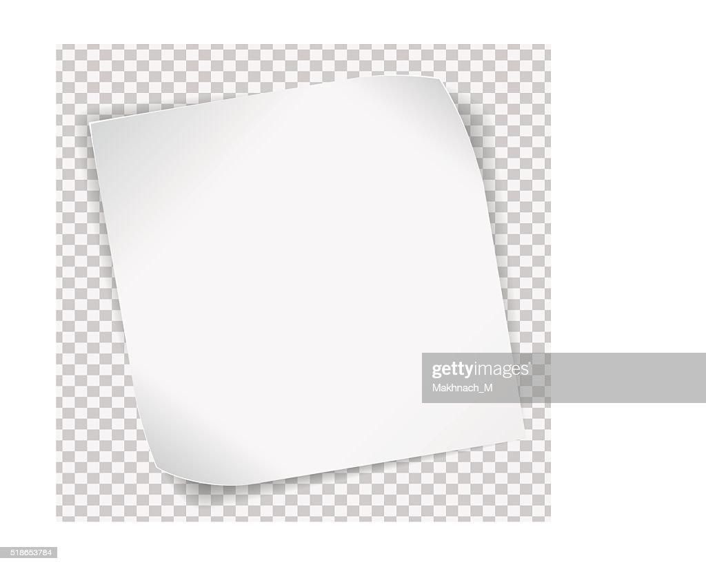 White paper sticker over transparent background
