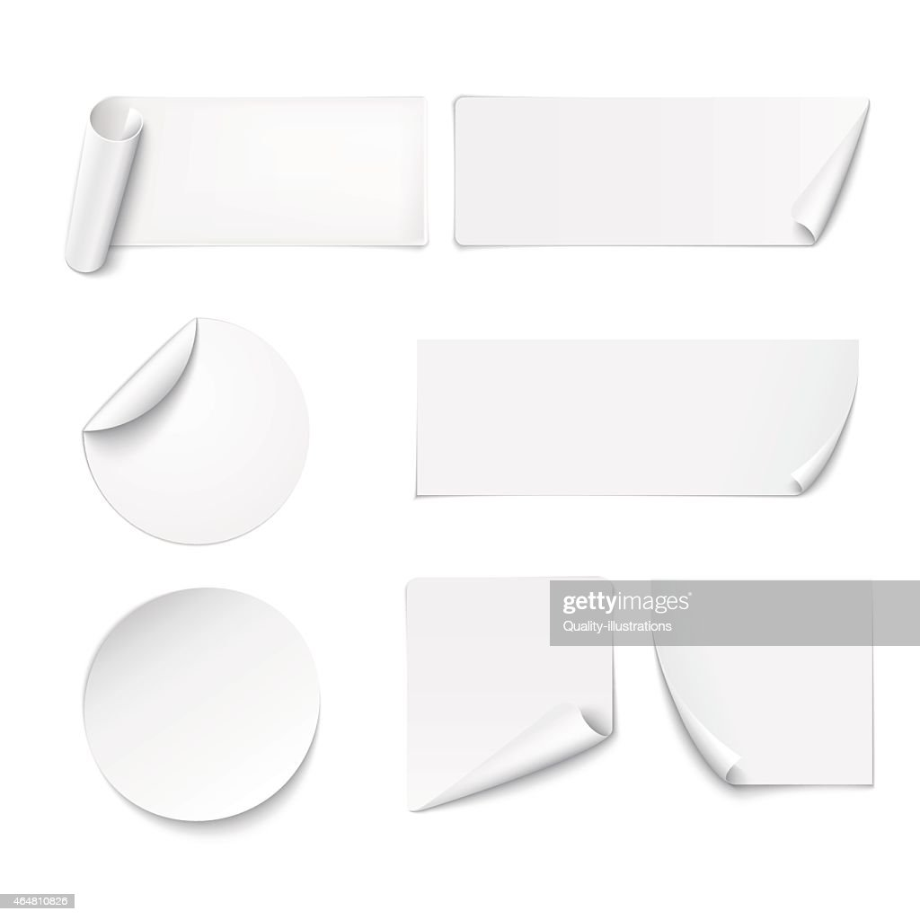 White paper stickers peeling at edges on white background