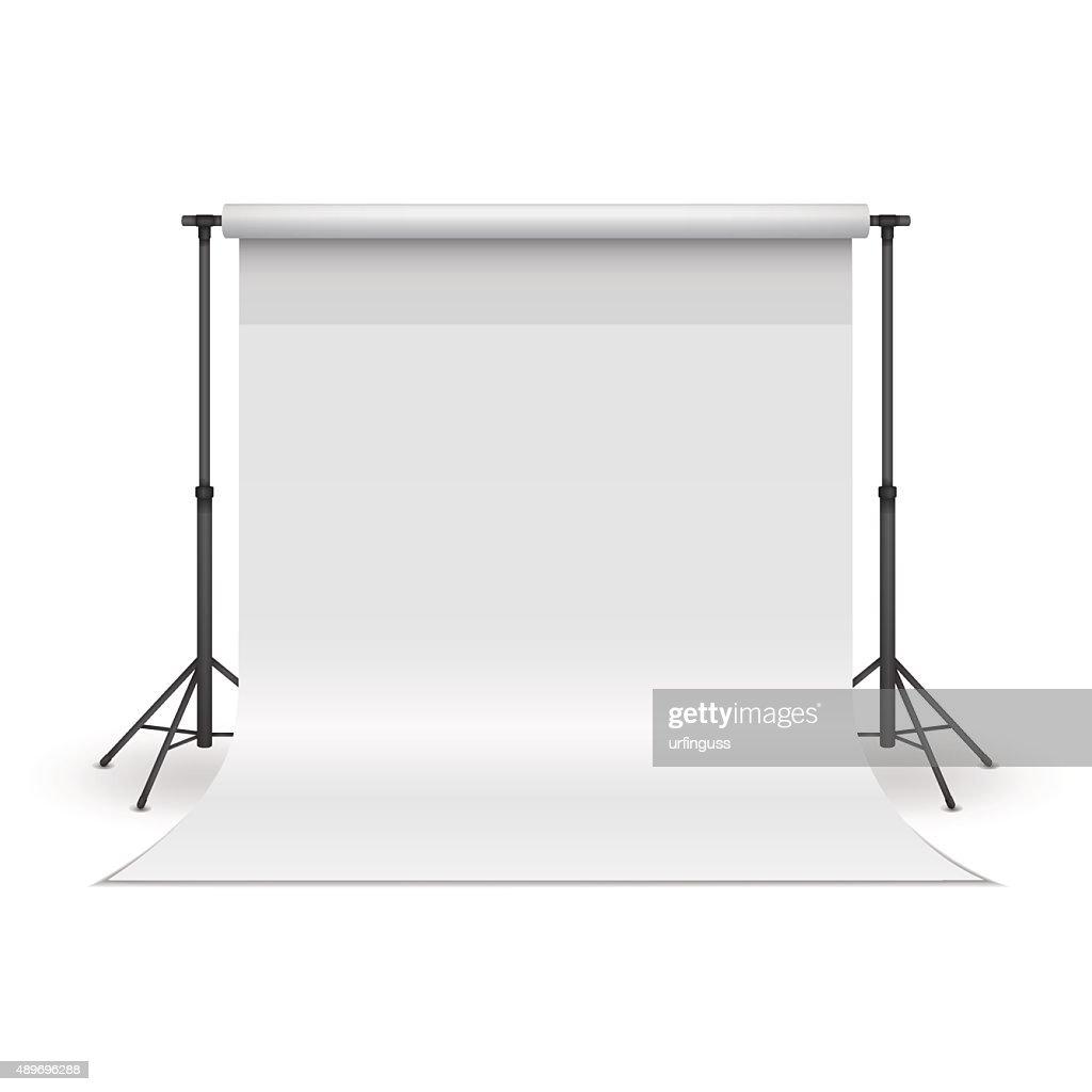 White paper studio backdrop.