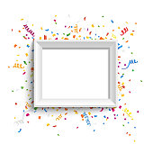 White photo frame with colorful confetti and ribbons. Vector illustration.