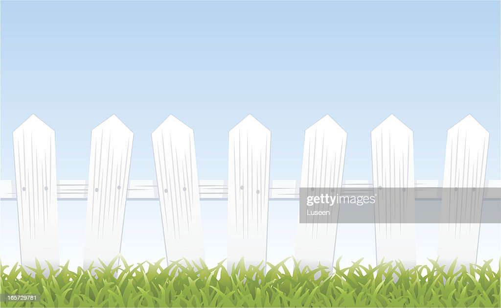 White picket fence, grass, and sky (tiles seamlessly)