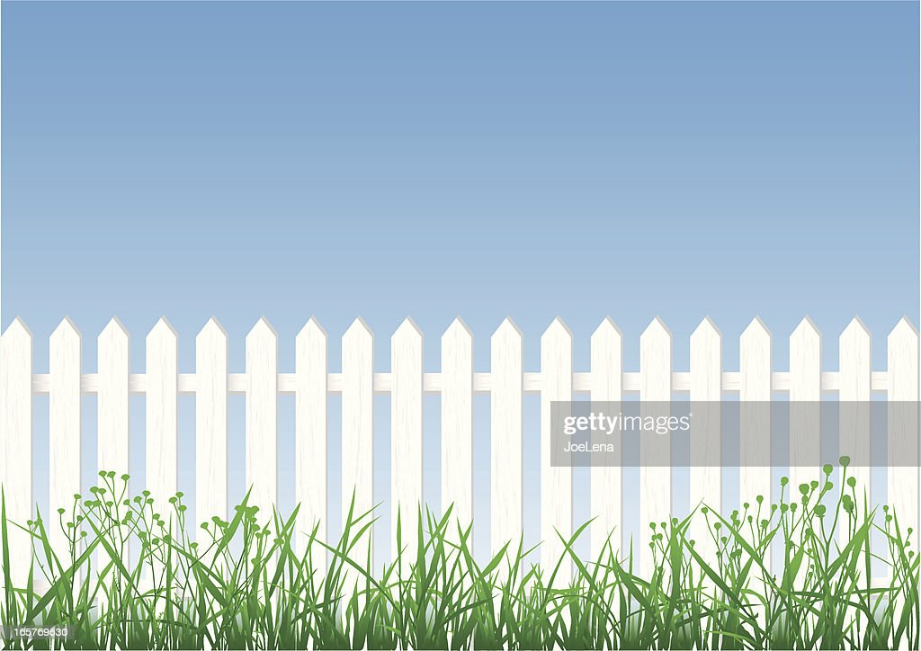 White Picket Fence, Grass And Sky