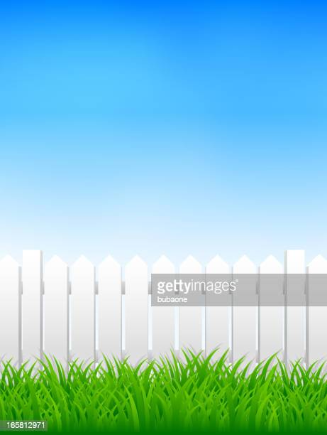 White Picket Fence on Beautiful Spring Nature Background with Grass