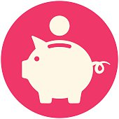 White Piggy bank icon in a red circle